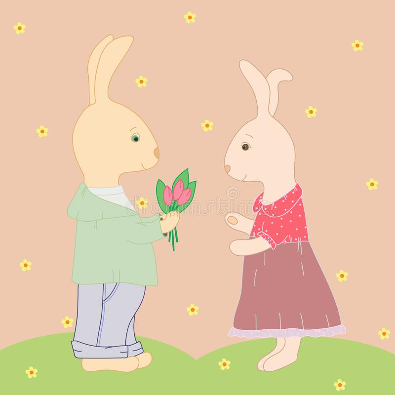 Coelhos no amor ilustração stock
