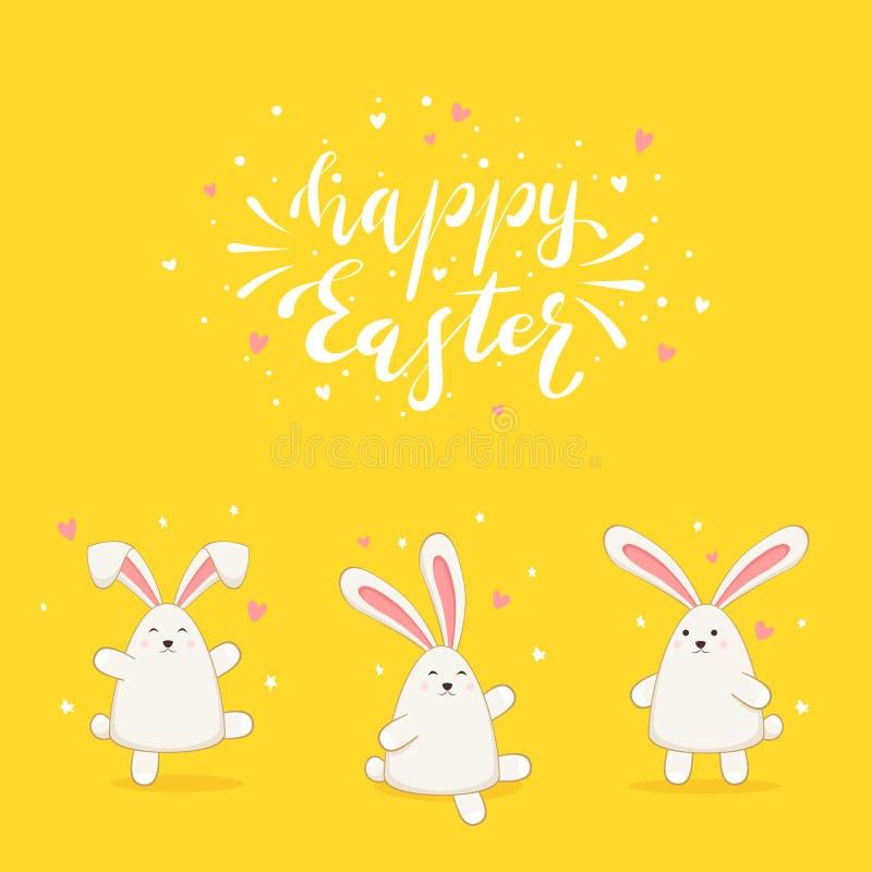 Coelhos no fundo amarelo e em rotular a Páscoa feliz ilustração do vetor