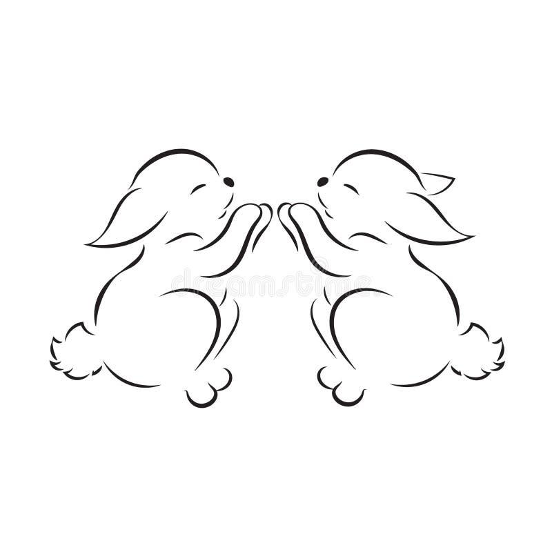 coelhos pequenos da imagem dois pretos isolados no fundo branco ilustração royalty free