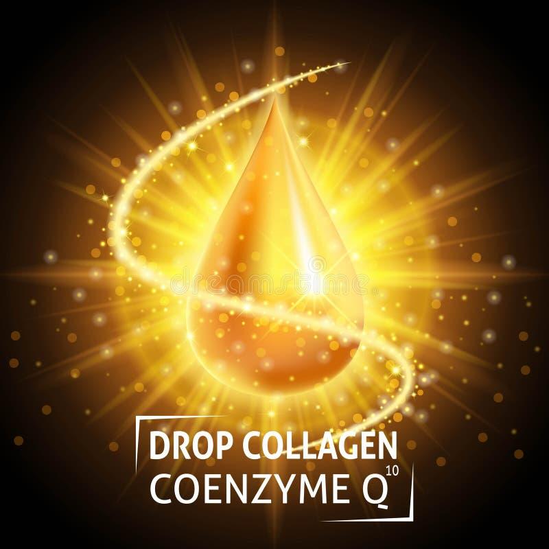 Coenzima del collagene del siero, goccia dorata realistica Presa della cura della pelle Siero ialuronico di anti età Cosmetici di illustrazione vettoriale