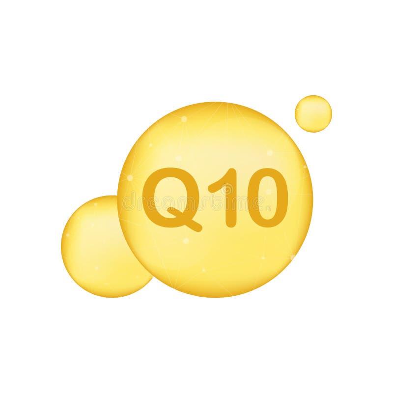 Coenzima Q10 Ícone do óleo do vetor do ouro Cápsula do comprimido da gota da enzima Ilustração do vetor ilustração stock