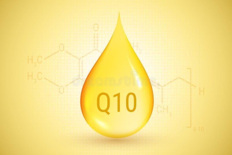 Coenzima Q10 Goccia dell'oro di olio Acido ialuronico Illustrazione di vettore illustrazione vettoriale