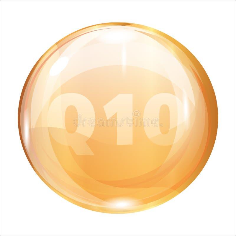Coenzima Q10 Icono del oro para el cuidado de piel Vector ilustración del vector