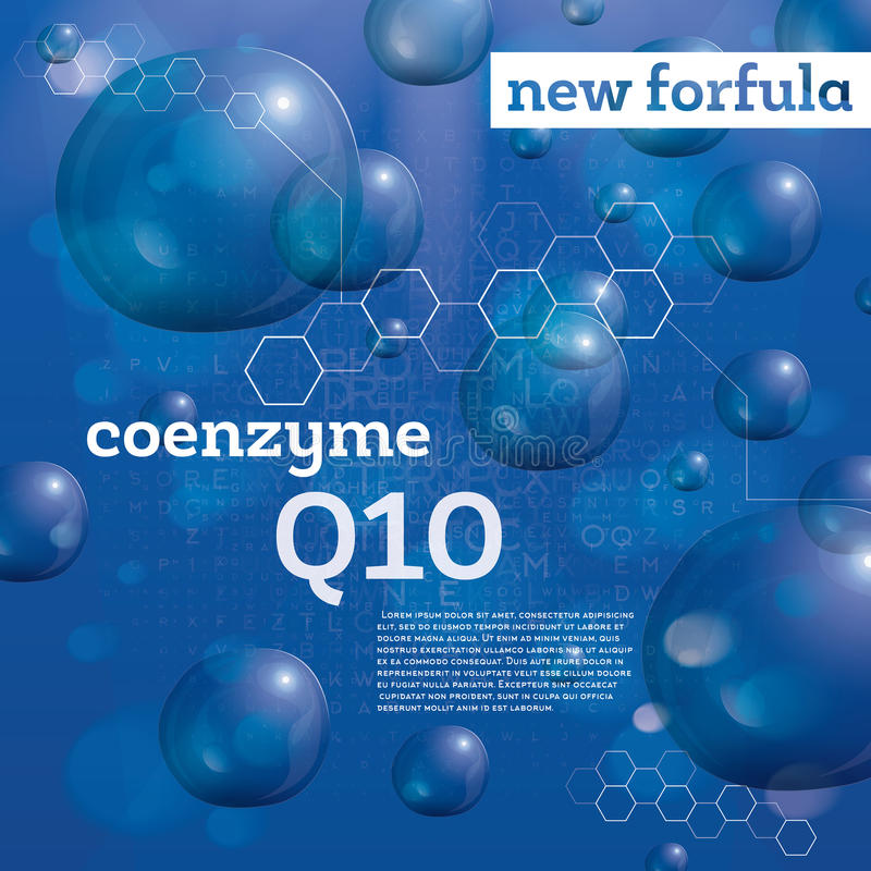Coenzyme Q10 Bulles transparentes sur le fond bleu illustration stock