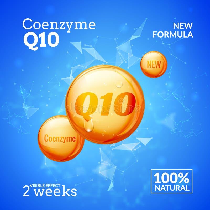 Coenzyme Q10 Conception suprême de vecteur de baisse d'huile de collagène de sérum Solution de gouttelette d'essence de soins de  illustration de vecteur