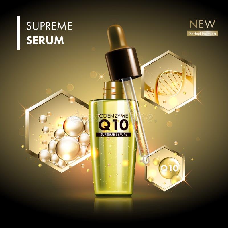 Coenzyme Q10 serum gouden dalingen met druppelbuisje royalty-vrije illustratie