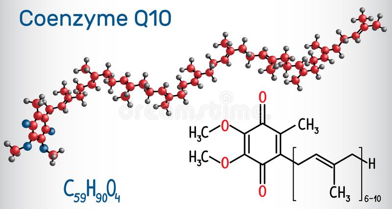 Coenzyme Q10 ubiquinone, ubidecarenone, coenzyme Q, CoQ10 mole. Cule. It is cofactor with antioxidant properties. Structural chemical formula and molecule model stock illustration