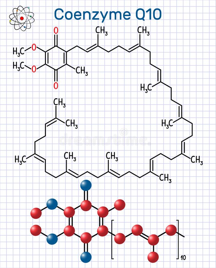 Coenzyme Q10 ubiquinone, ubidecarenone, coenzyme Q, CoQ10 mole. Cule. It is cofactor with antioxidant properties. Structural chemical formula and molecule model royalty free illustration
