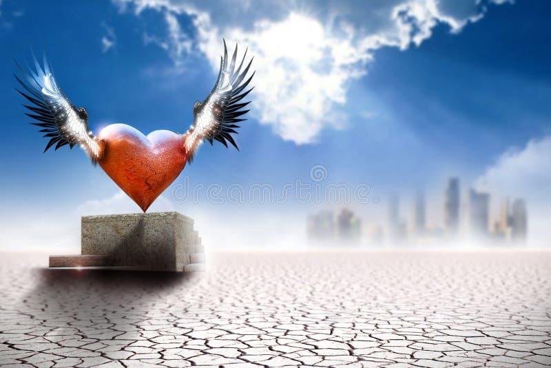 Coeur à ailes en monde moderne photo stock