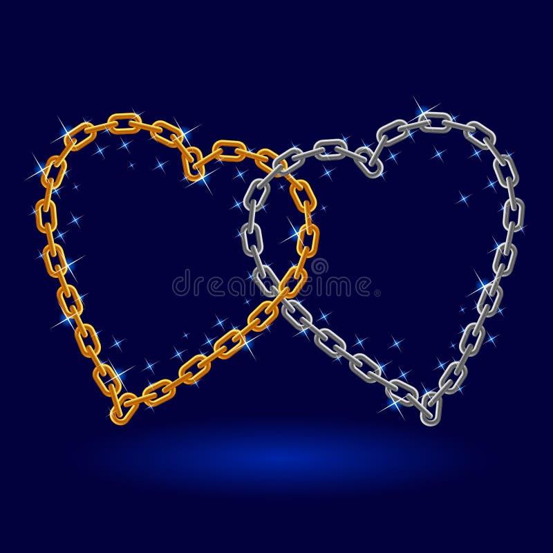 Coeur à chaînes d'argent et d'or. illustration de vecteur