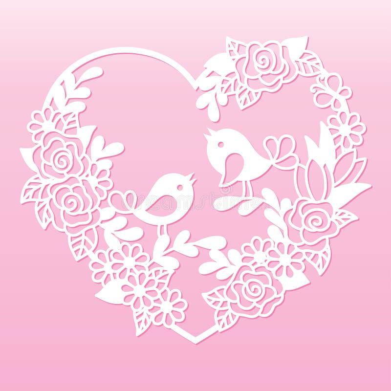 Coeur à jour avec des fleurs et des oiseaux Calibre de coupe de laser illustration de vecteur