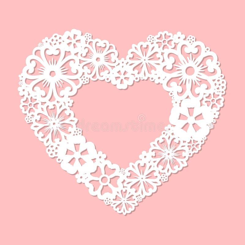 Coeur à jour fait de fleurs Coupe de laser illustration libre de droits