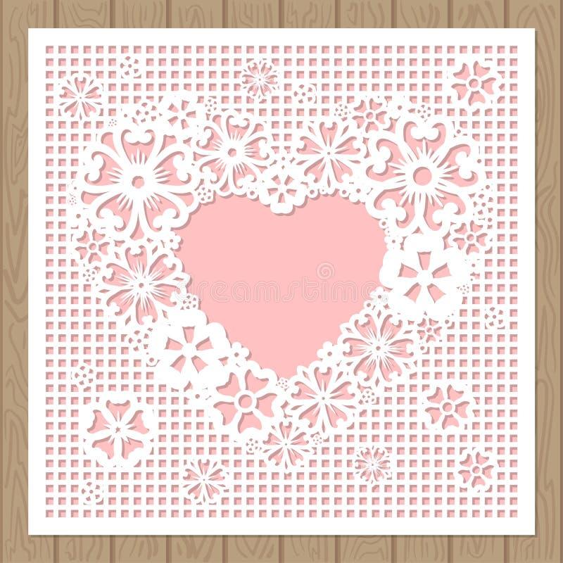 Coeur à jour fait de fleurs Coupe de laser illustration stock