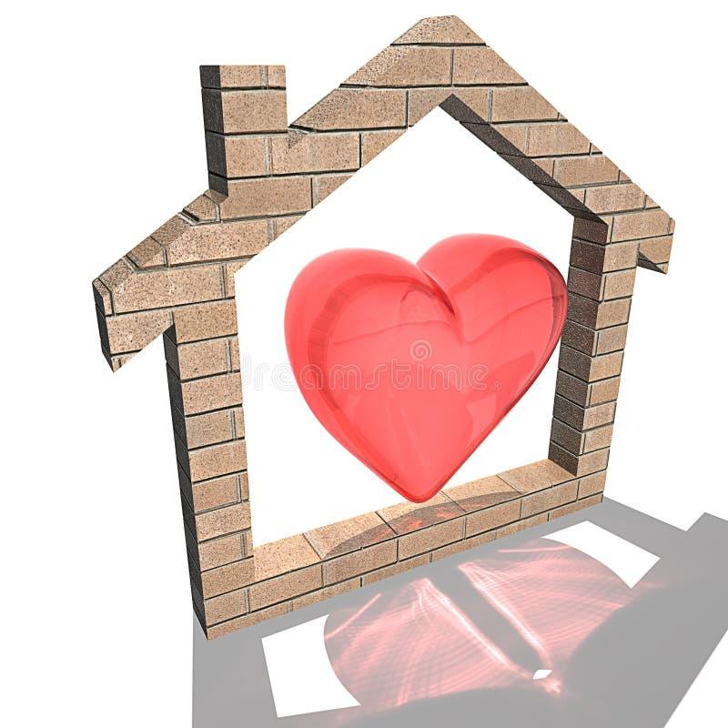 Coeur à la maison illustration de vecteur