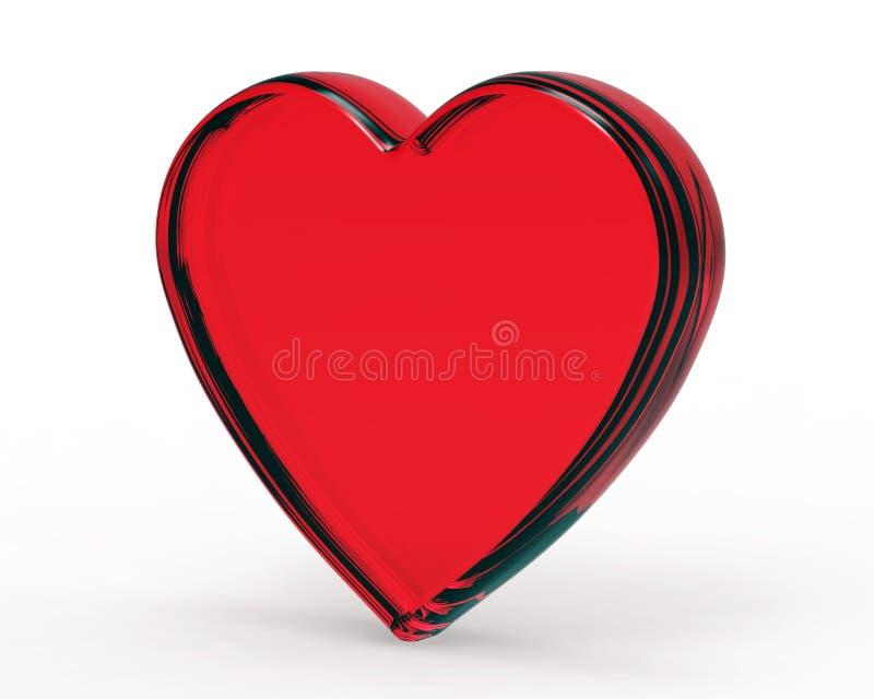coeur 3D.Red en verre d'isolement sur le blanc photo libre de droits