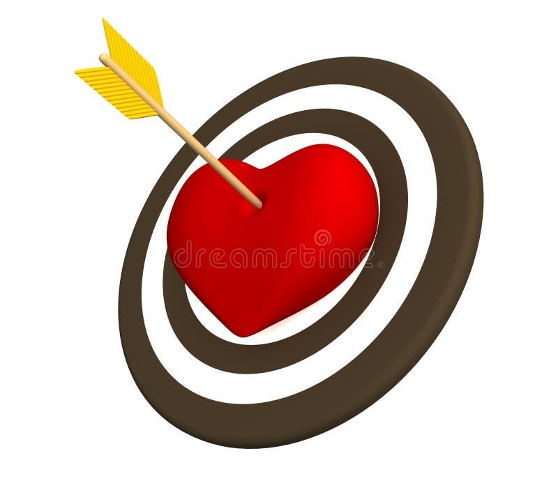 coeur 3d rouge percé avec une flèche illustration libre de droits