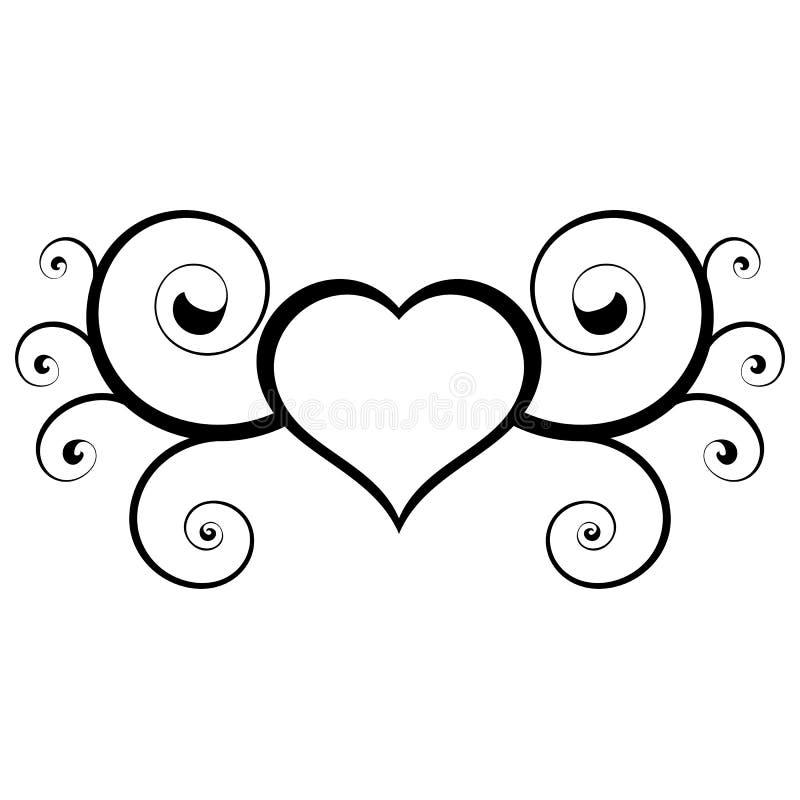 Coeur abstrait Élément noir et blanc floral utile de vecteur illustration stock