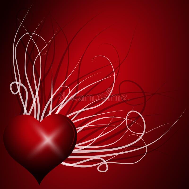 Coeur abstrait au-dessus du rouge Fond coloré de vecteur illustration stock