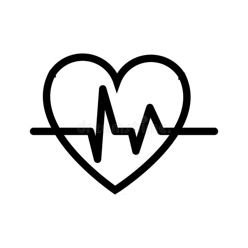 Coeur abstrait avec un modèle de cardiogramme et une impulsion, icône noire et blanche simple sur un fond blanc Illustration de v illustration de vecteur