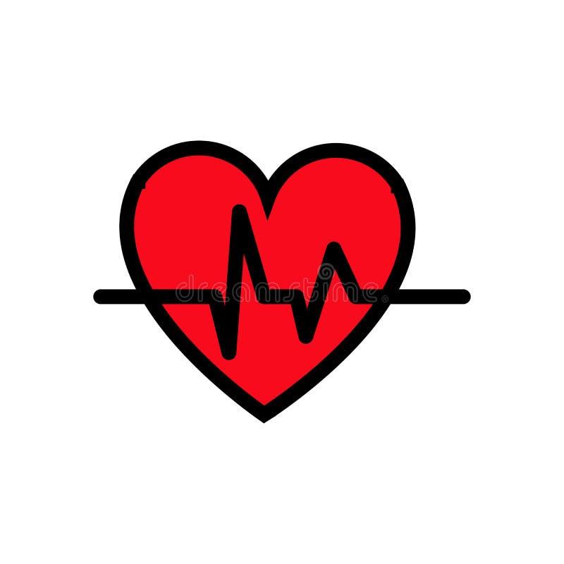 Coeur abstrait avec un modèle de cardiogramme et une impulsion, icône simple sur un fond blanc Illustration de vecteur illustration de vecteur
