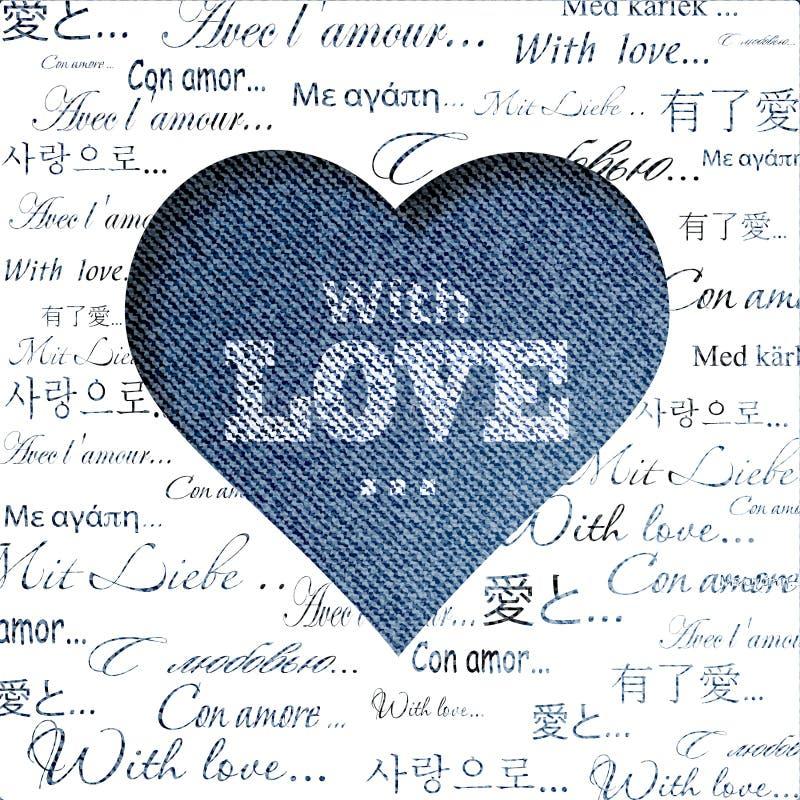 Coeur abstrait de jeans illustration stock
