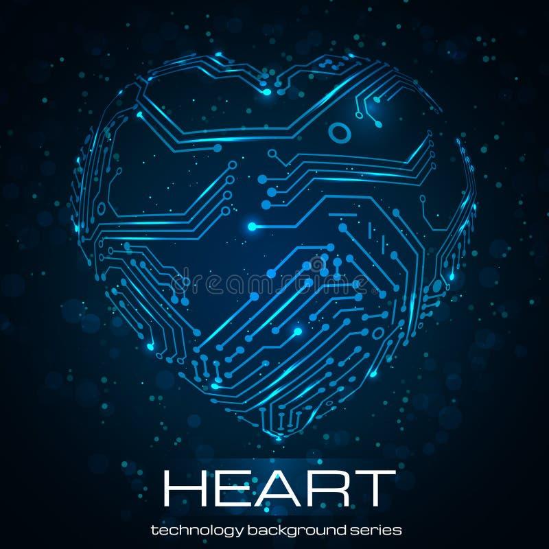 Coeur abstrait de technologie. illustration de vecteur