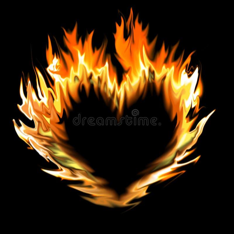 Coeur abstrait fait de flammes illustration stock
