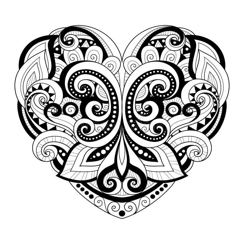 Coeur abstrait monochrome décoratif de vecteur illustration stock