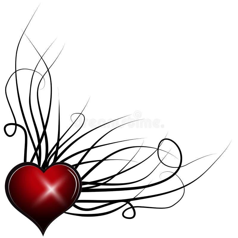 Coeur abstrait rouge Élément floral coloré de vecteur illustration stock