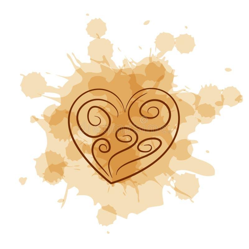 Coeur abstrait sur le fond de tache de café illustration libre de droits