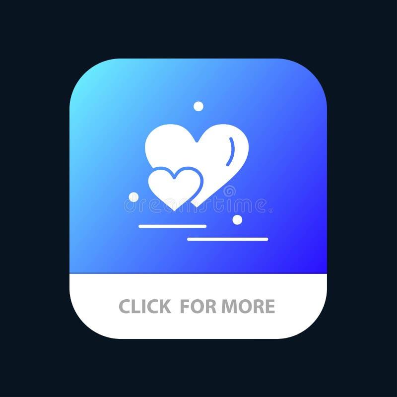 Coeur, amour, couple, Valentine Greetings Mobile App Button Android et version de Glyph d'IOS illustration de vecteur