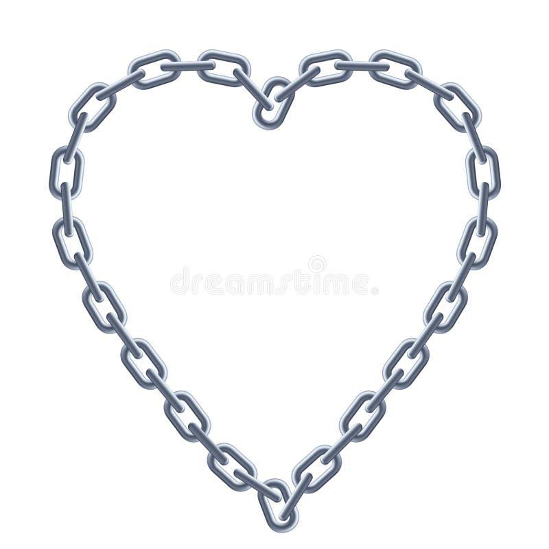 Coeur argenté à chaînes. illustration stock