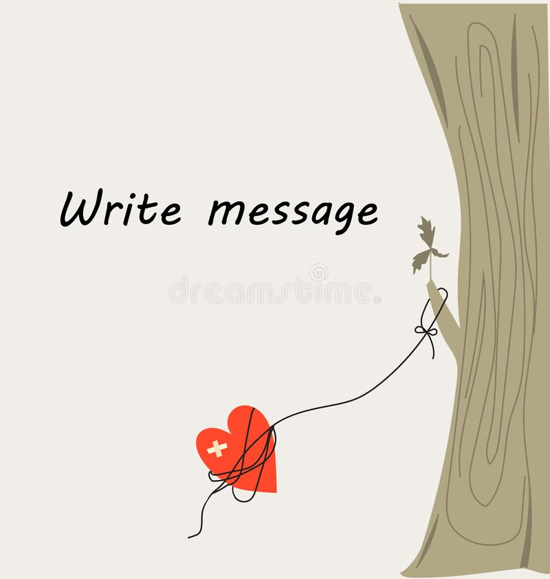Coeur attaché à un arbre illustration libre de droits