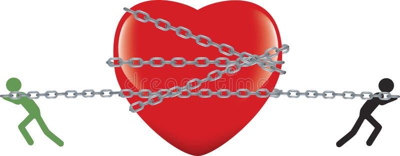 Coeur attaché avec la chaîne traînée et contestée illustration de vecteur
