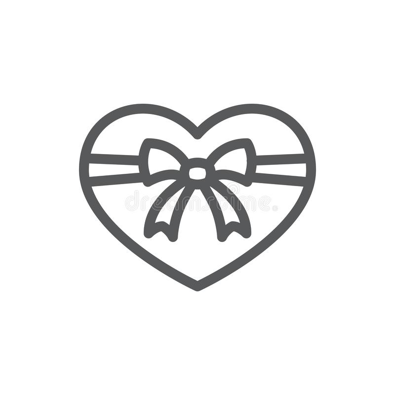Coeur attaché avec la ligne icône de ruban et d'arc avec la course editable illustration libre de droits