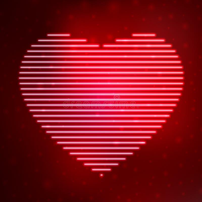 Coeur au néon d'icône illustration stock