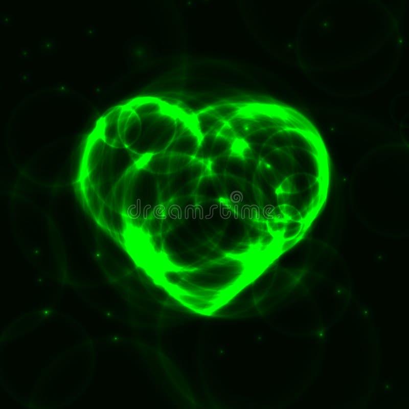 Coeur au néon vert de laser de plasma sur le fond foncé illustration de vecteur