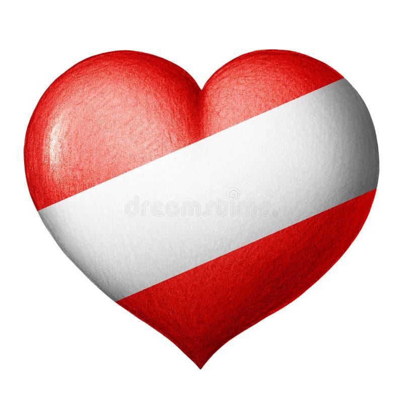 Coeur autrichien de drapeau d'isolement sur le fond blanc Dessin au crayon illustration libre de droits