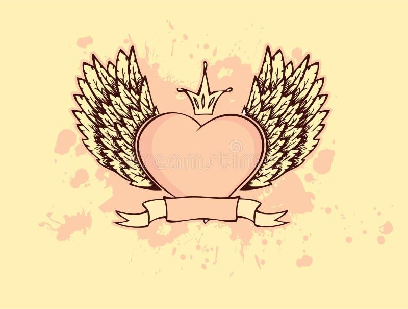 Coeur avec des ailes illustration de vecteur