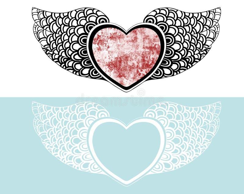 Coeur avec des ailes illustration stock