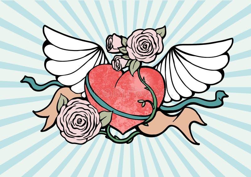 Coeur avec des ailes et des roses illustration stock