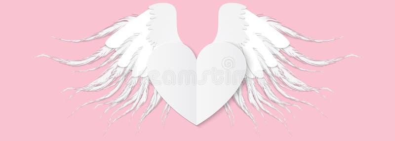 Coeur avec des ailes Illustration de vecteur de jour de valentines Papier mignon illustration libre de droits