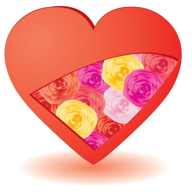 Coeur avec des fleurs à l'intérieur illustration libre de droits
