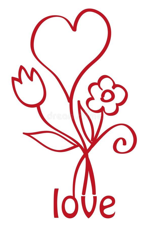 Coeur avec des fleurs illustration stock
