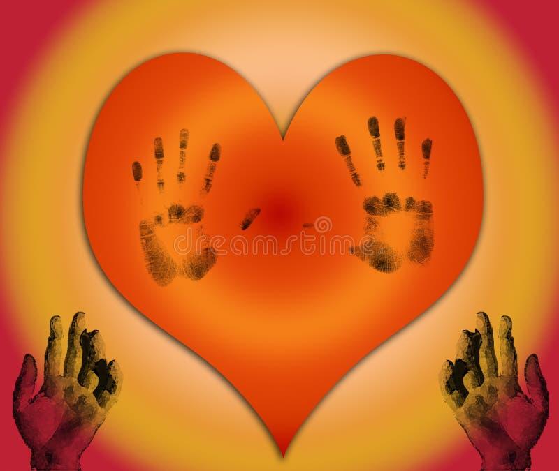 Coeur avec des mains illustration libre de droits