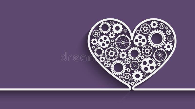 Coeur avec des trains illustration de vecteur