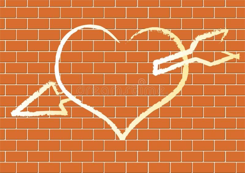Coeur avec en fonction un mur de briques. illustration de vecteur