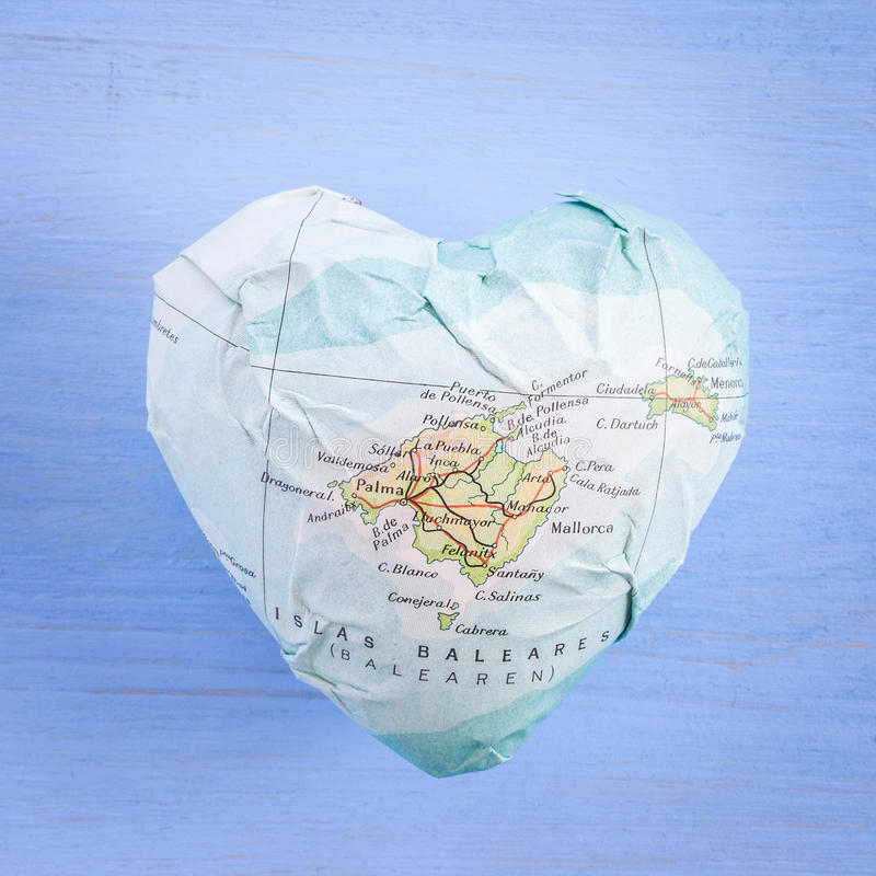 Coeur avec l'île de Majorque photographie stock