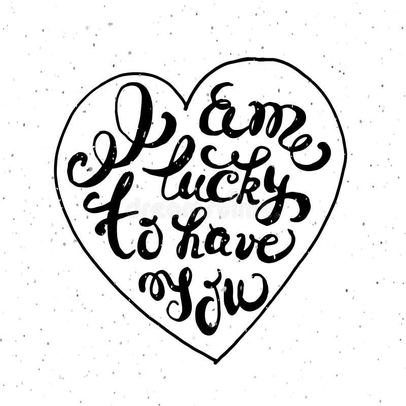 Coeur avec l'affiche tirée par la main de typographie illustration de vecteur