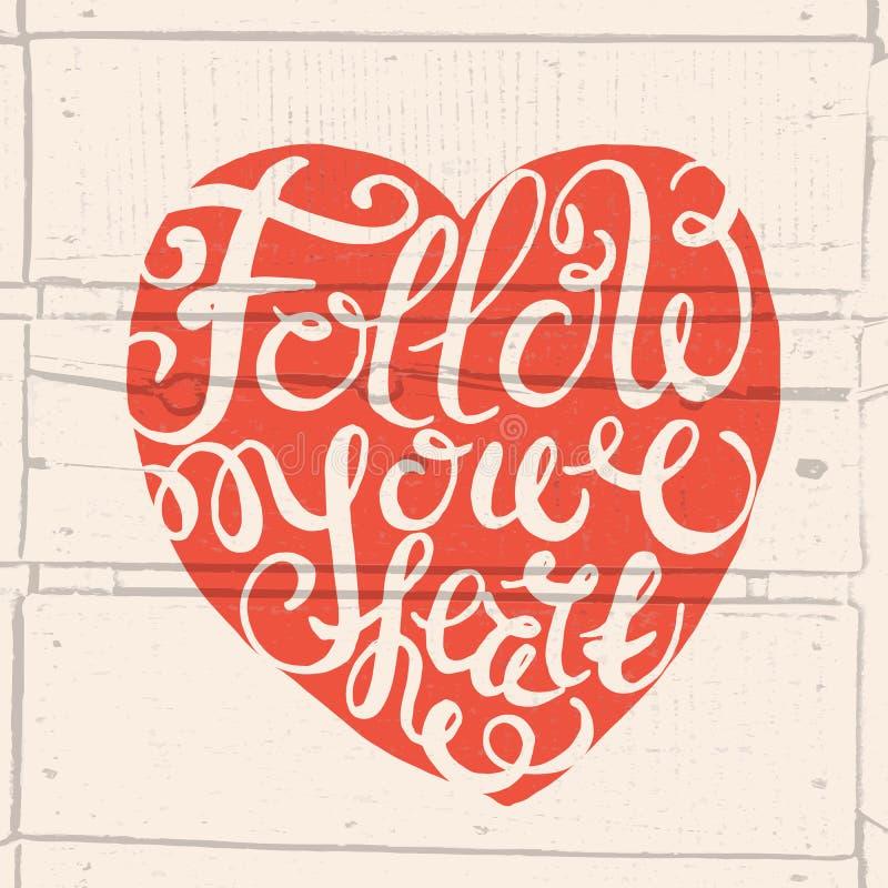 Coeur avec l'affiche tirée par la main de typographie illustration stock